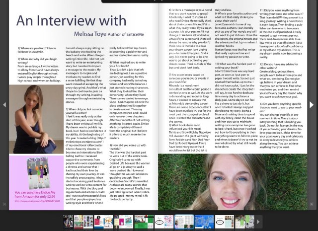 Interview with Melanie Toye from Talking Mums Magazine