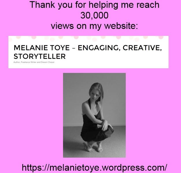 30000 views Melanie Toye author