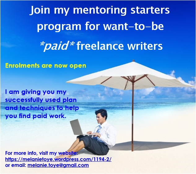 A mentoring starters program for want-to-be *paid* freelance writers